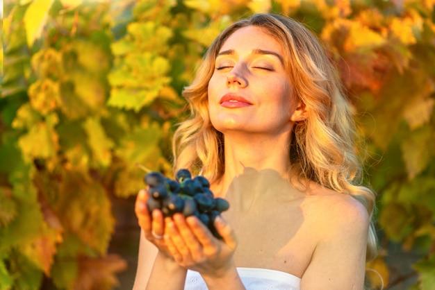 Kobieta zbierająca winogrona z winnicy