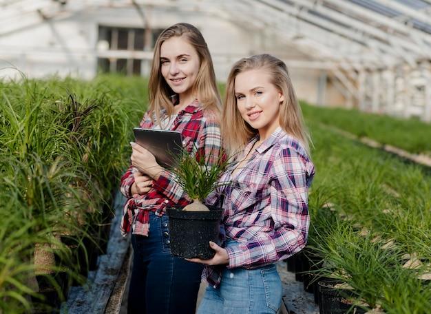 Kobiety dbające o rośliny ze szklarni