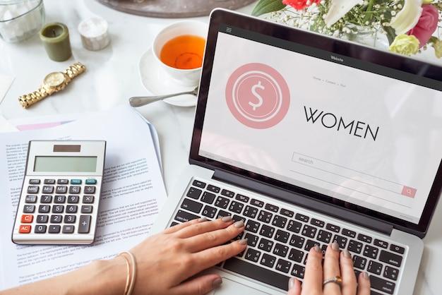 Kobiety dziewczyna pani kobieta zakupy online kobieta koncepcja