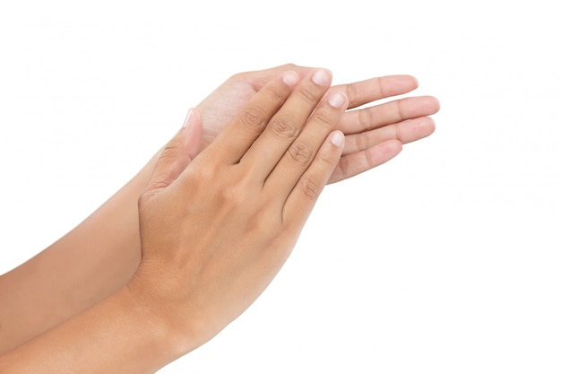 Kobiety klaskanie ręce, oklaski na białym tle