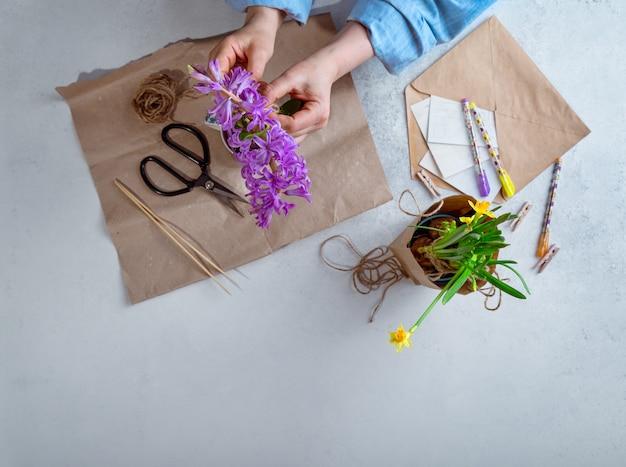 Kobiety kocowania wiosna doniczkowa kwitnie jako prezenty, odgórny widok z kopii przestrzenią