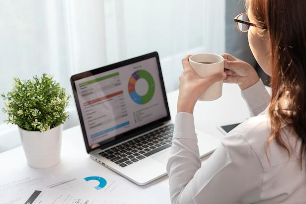 Kobiety korzystające z laptopa i piją kawę w domowym biurze, młoda kobieta planuje biznes.