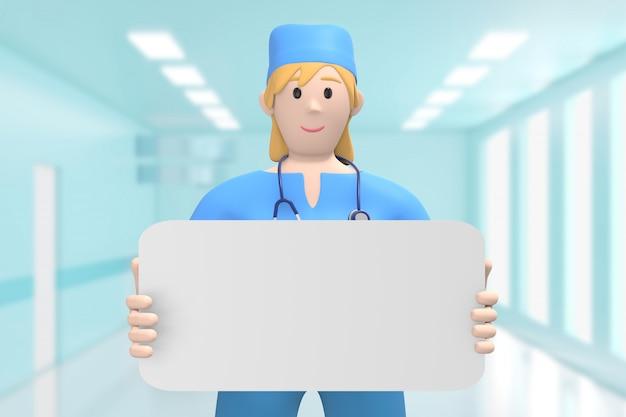 Kobiety lekarka w medycznym wnętrzu szpital trzyma pustą deski kopii przestrzeń, szablon