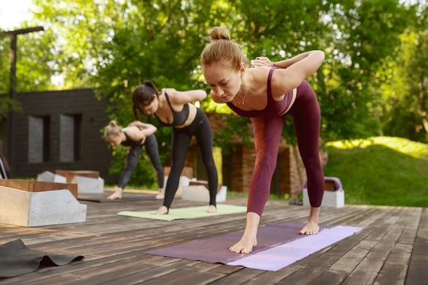 Kobiety z idealną sylwetką na grupowym treningu jogi w letnim parku