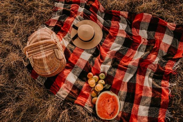 Koc podróżny w kratkę czerwona krata na trawie latem