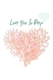 Kochająca akwarela koralowa. projekt pocztówki. coral love heart. karta walentynkowa