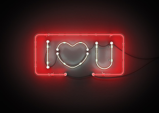 Kocham cię z neon alfabet renderowania 3d