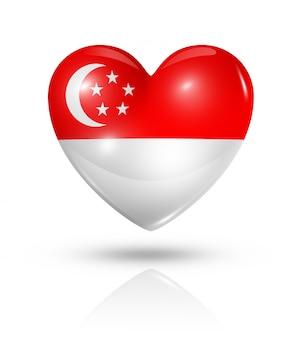 Kocham ikonę flagi serca singapuru