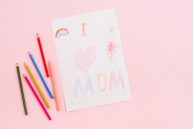 Kocham mamę, rysunek na papierze z ołówkami