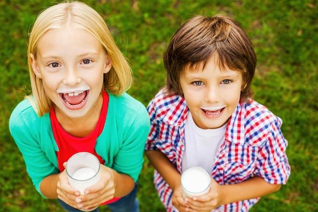Kochamy mleko. widok z góry dwóch uroczych małych dzieci z mlecznymi wąsami, trzymających szklanki z mlekiem i uśmiechających się, stojąc razem na zielonej trawie