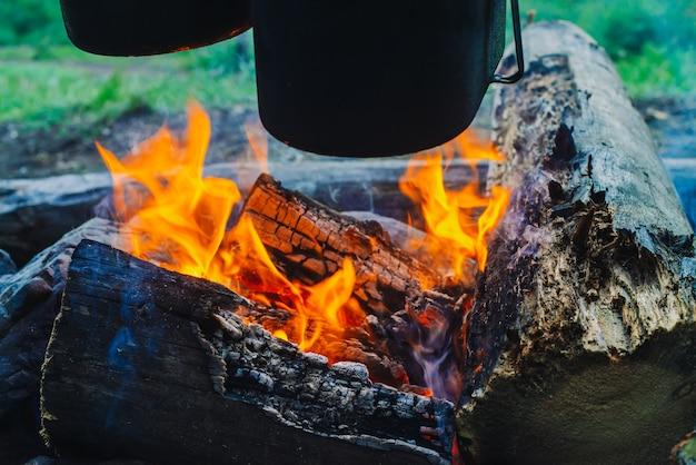 Kocioł i czajnik nad ogniskiem. gotowanie jedzenia na łonie natury. kolacja na świeżym powietrzu. drewno opałowe i gałęzie w ogniu. aktywny wypoczynek. camping w lesie.
