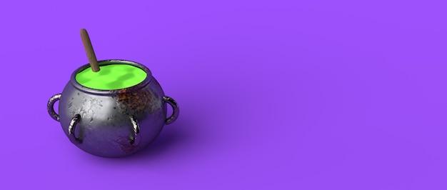 Kocioł wiedźmy z zieloną miksturą. halloween. skopiuj miejsce. ilustracja 3d.