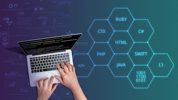 Kod języków programowania za pomocą osoby i laptopa.
