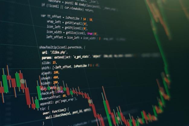 Kod Programistyczny Dla Programistów. Abstrakcyjny Kod Skryptu Komputerowego. Ekran Kodu Programistycznego Programisty. Czas Pracy Przy Programowaniu Oprogramowania. Premium Zdjęcia