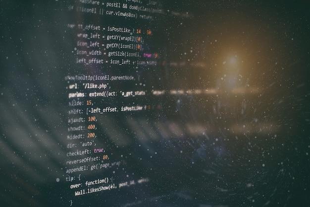 Kod programistyczny dla programistów. abstrakcyjny kod skryptu komputerowego. ekran kodu programistycznego programisty. czas pracy przy programowaniu oprogramowania.
