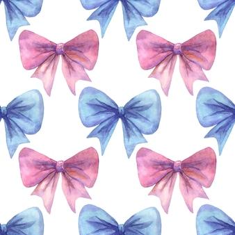 Kokardki w kolorze różowym i niebieskim. wzór. ręcznie rysowane akwarela ilustracja.