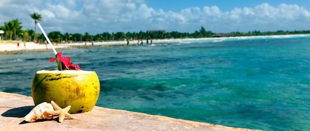 Kokos ze słomką na morzu