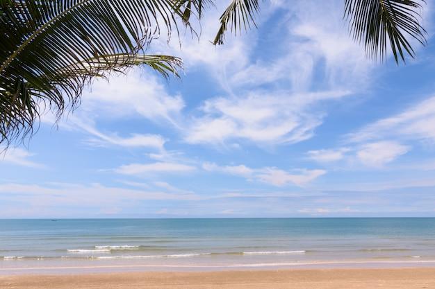 Kokosowi drzewa przeciw niebieskiemu niebu. palmy na tropikalnym wybrzeżu.