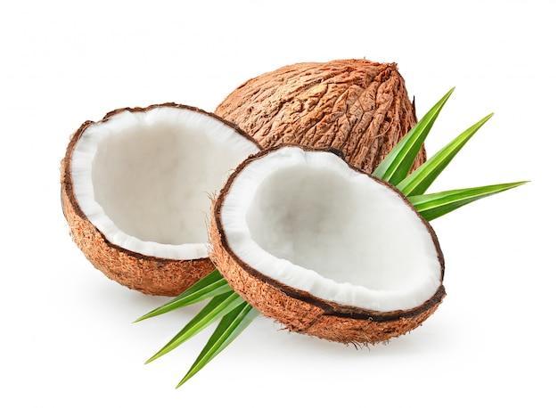 Kokosy na białym tle