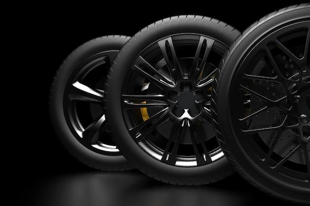 Koła samochodowe na ciemnym tle z chromowanymi felgami renderowania 3d zbliżenie