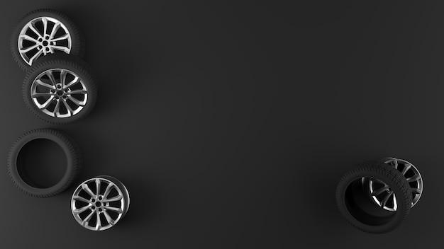Koła samochodu sportowego na podłodze na czarnym tle
