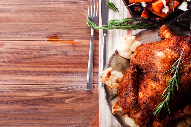 Kolacja z okazji dziękczynienia z kurczakiem.