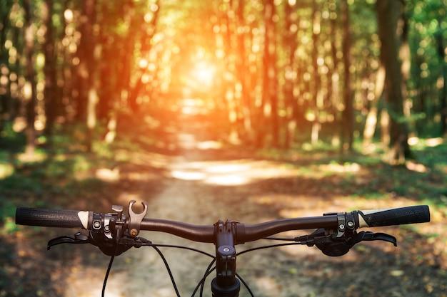 Kolarstwo górskie w dół wzgórza schodzące szybko na rowerze. widok z oczu rowerzystów.