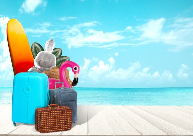 Kolaż bagażu do podróży przed widokiem na ocean koncepcja letniej podróży do kurortu