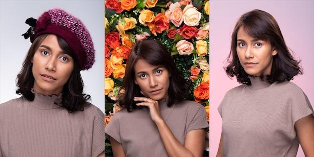 Kolaż group pack of fashion młoda matka 30s indian / asian woman czarny curl krótkie włosy piękny makijaż fioletowy strój nosić kapelusz uśmiech dobry nastrój twarzy. oświetlenie studyjne białe, kwiatowe, różowe tło
