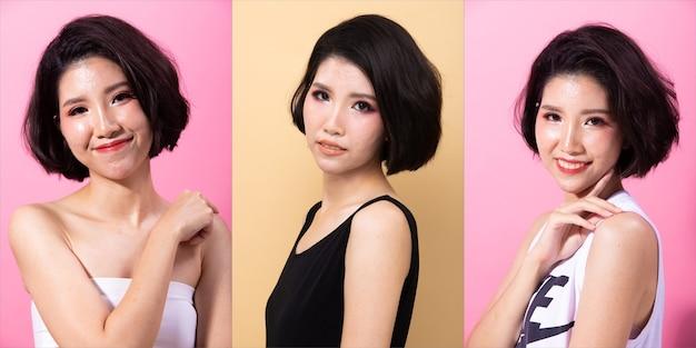 Kolaż group pack of fashion young 20s asian woman czarne włosy piękny makijaż moda sukienka koszula stwarzających atrakcyjny wygląd glam. oświetlenie studyjne żółte beżowe i różowe tło izolowane miejsce na kopię