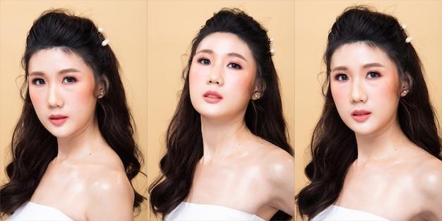 Kolaż group pack of fashion young 20s asian woman czarne włosy piękny makijaż moda sukienka koszula stwarzających atrakcyjny wygląd glam. oświetlenie studyjne żółte beżowe tło na białym tle kopia przestrzeń