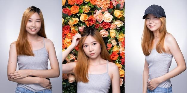 Kolaż grupa pack młodych nastolatek asian kobieta blond kolor umierania włosów szary koszula pozować z uśmiechem twarzy i ramion w dobrym nastroju optymistycznym. oświetlenie studyjne białe, kwiat na białym tle