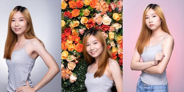 Kolaż grupa pack młodych nastolatek asian kobieta blond kolor umierania włosów szary koszula pozować z uśmiechem twarzy i ramion w dobrym nastroju optymistycznym. oświetlenie studyjne białe, kwiatowe, różowe tło na białym tle