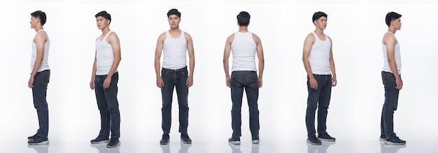 Kolaż grupa paczek azjatyckiego mężczyzny nastolatka wyraża wiele działających pozujących w pełnej długości ciała przystawki. studio oświetlenie białe tło na białym tle. tył boczny widok z tyłu 360