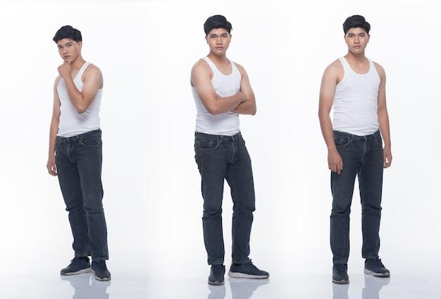 Kolaż grupa paczek azjatyckiego mężczyzny nastolatka wyraża wiele działających pozujących w pełnej długości ciała przystawki. studio oświetlenie białe tło na białym tle.