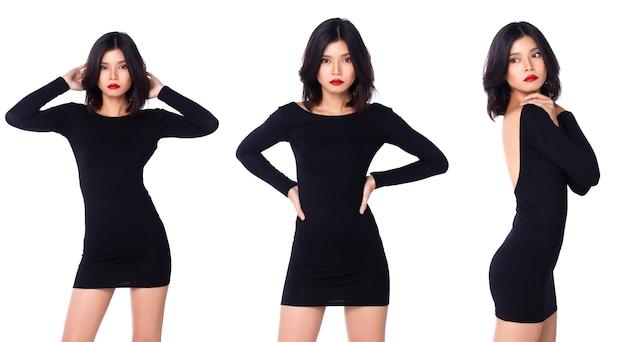 Kolaż grupa połowa ciała przystawka do figury z lat 20. azjatka, czarne włosy, krótka spódniczka z długimi rękawami i buty. biurowa dziewczyna pozuje i wyraża emocje na białym tle na białym tle