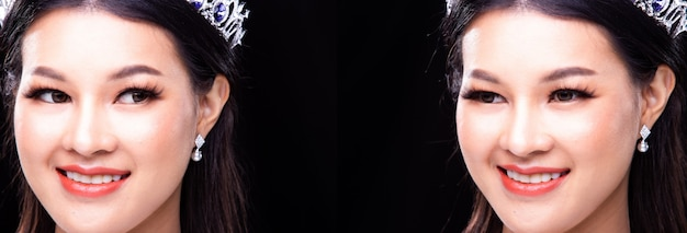 Kolaż grupowy portret miss pageant beauty contest w cekinowej sukni wieczorowej z błyszczącym światłem diamentowa korona, azjatka mocuje podwójne taśmy powieki i rzęsy z pięknym uśmiechem szczęśliwy