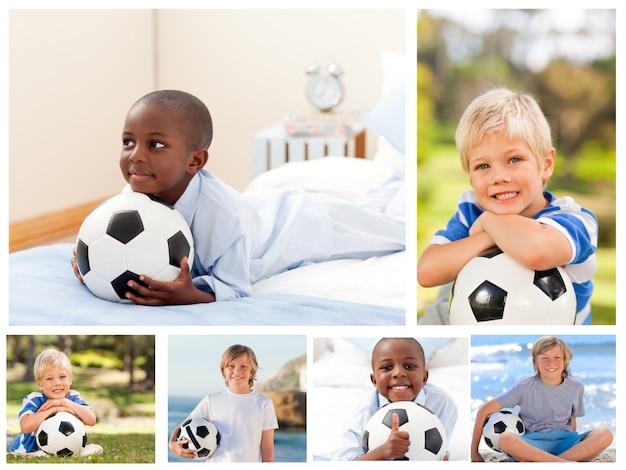 Kolaż kilku chłopców z piłką nożną