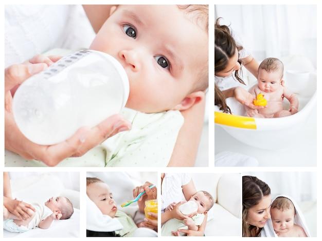 Kolaż matki spędzać dzień z dzieckiem