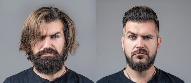 Kolaż mężczyzna przed i po wizycie u fryzjera, różne fryzury, wąsy, broda. męskie piękno, porównanie. golenie, stylizacja włosów. broda, golenie przed, po. fryzjer fryzur z długą brodą