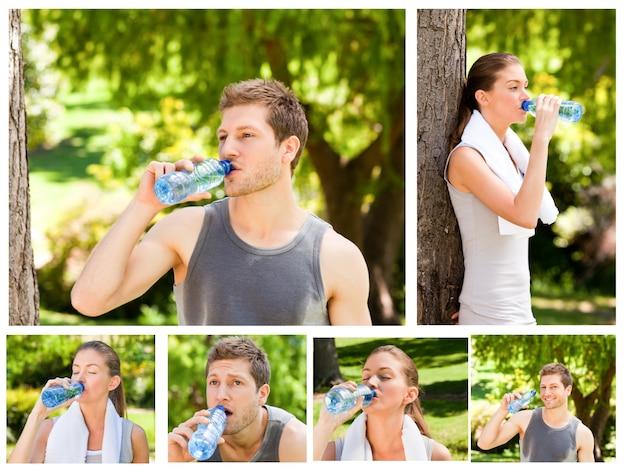 Kolaż młodej pary woda pitna po gym