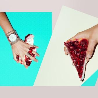 Kolaż mody. skoncentruj się na czerwonym. biżuteria damska. słodkie letnie akcesoria.