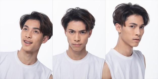 Kolaż paczka grupy azjatyckiego człowieka nastolatka po makijażu fryzury. bez retuszu, modna twarz, wyrażanie wielu uczuć i pozowania. oświetlenie studyjne białe tło na białym tle, widok z tyłu z tyłu