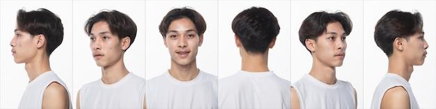 Kolaż paczka grupy azjatyckiego człowieka nastolatka przed makijażem fryzury. bez retuszu, świeża twarz z ładną i gładką skórą. tył boczny widok z tyłu oświetlenie studyjne białe tło na białym tle 360