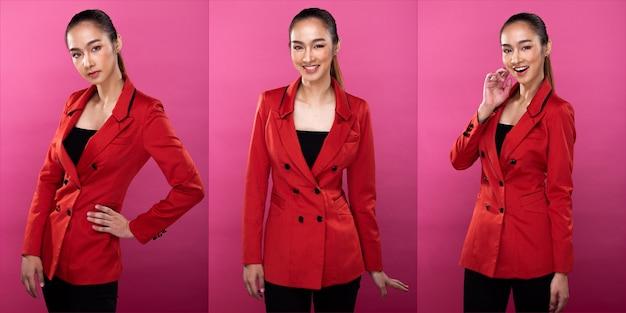 Kolaż pakiet grupowy portret azjatyckiej kobiety biznesu nosi czerwoną formalną marynarkę marynarkę garnitur, ma pewny siebie elegancki wygląd, oświetlenie studyjne różowe tło na białym tle, prawnik szef akt pozuje uśmiech inteligentny wygląd