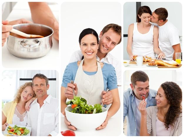 Kolaż pary w kuchni