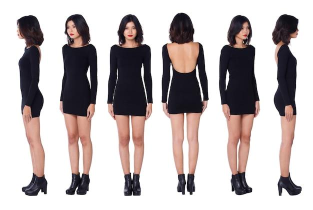 Kolaż pełna długość lat 20. asian woman czarne włosy z długimi rękawami, krótką spódniczkę, skórzane buty z otwartymi plecami. kobieta stoi i obraca się o 360 wokół tylnego widoku z tyłu na białym tle na białym tle