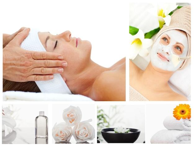 Kolaż piękna kobieta relaksuje dostawać masaż