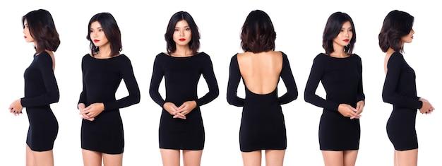Kolaż pół ciała z lat 20. asian woman czarne włosy z długimi rękawami, krótką spódniczkę, skórzane buty z odkrytymi plecami. kobieta stoi i obraca się o 360 wokół tylnego widoku z tyłu na białym tle na białym tle