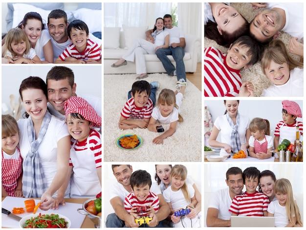 Kolaż rodziny korzystających chwile razem
